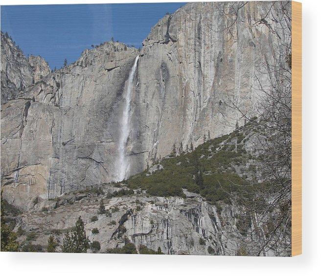 Upper Yosemite Falls Wood Print featuring the photograph Upper Yosemite Fall by April Julian