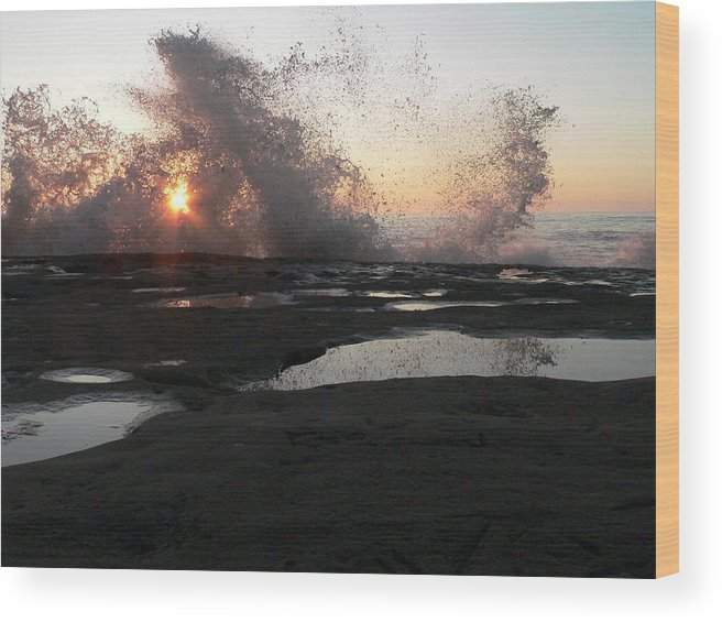 Sunset Wood Print featuring the photograph Water Wall by DLynne Warren