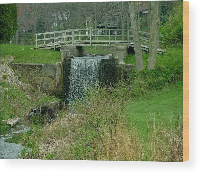 Waterfall Wood Print featuring the photograph Waterfall And Bridge by Dennis Pintoski