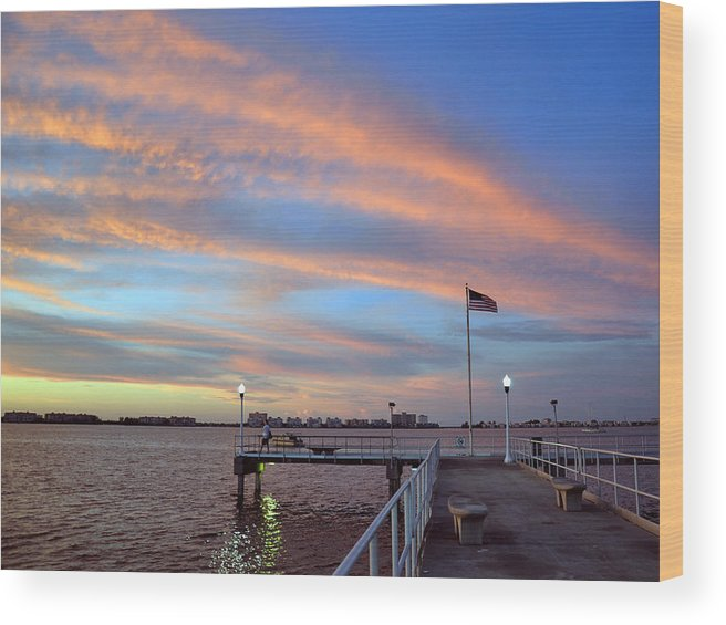 Gulfport Wood Print featuring the photograph Williams Pier During Sunrise In Gulfport Florida by Rob Fowler