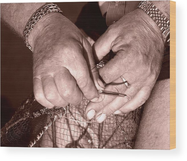 Fisherman Wood Print featuring the photograph Working Hands by Natasa Cvisic