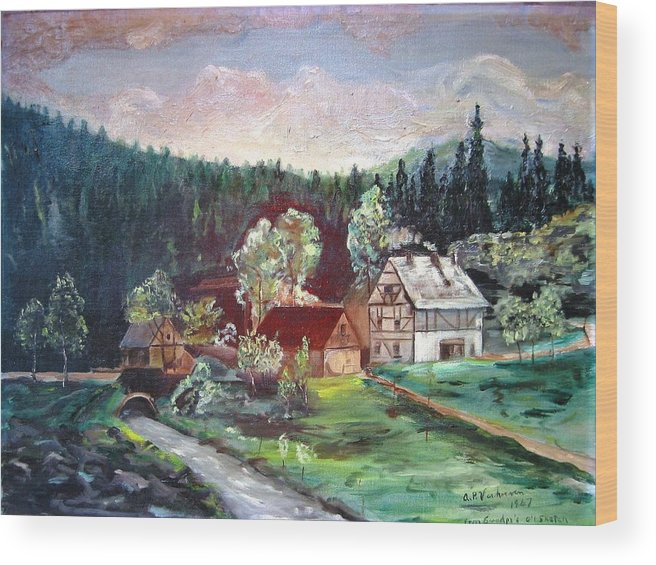 Schwartzwald Jaeger (hunter) Haus Wood Print featuring the painting Black Forest Germany by Alfred P Verhoeven