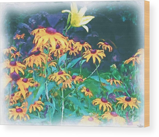 Mixed Media Wood Print featuring the painting A Lily In The Field by Patricia Griffin Brett
