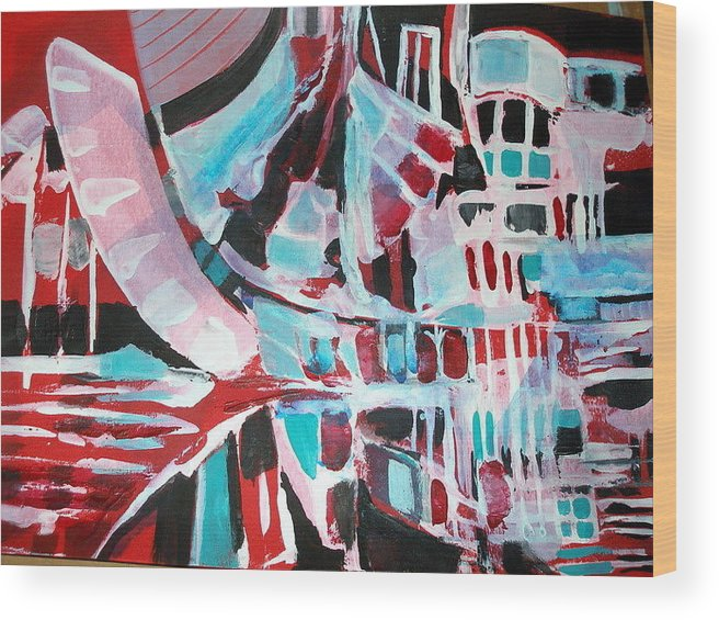 Art Wood Print featuring the painting Abstract Marina by Therese AbouNader