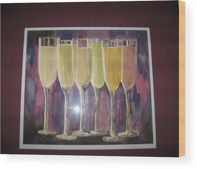 Champagne Wood Print featuring the painting After Five by Sheryl Sutherland