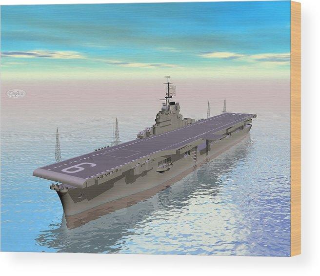 Carrier Wood Print featuring the digital art Aircraft Carrier - 3d Render by Elenarts - Elena Duvernay Digital Art