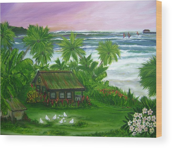 Hawaii Wood Print featuring the painting Aloha Morning by Laura Johnson