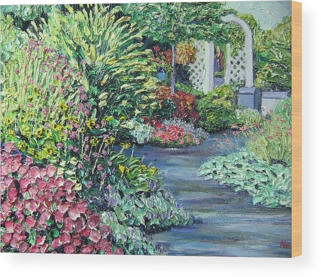 Garden Wood Print featuring the painting Amelia Park Pathway by Richard Nowak