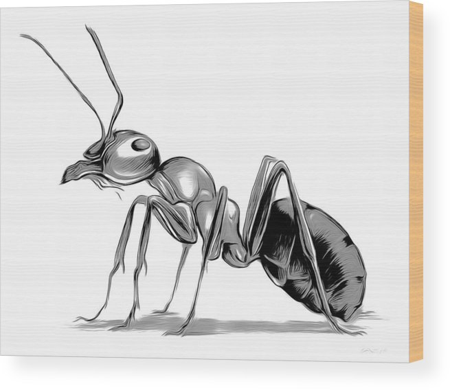 Ant Wood Print featuring the digital art Ant by Greg Joens