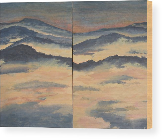 Mountain Range On Two Canvasses Wood Print featuring the painting Blue Ridge IIi by Sheryl Sutherland