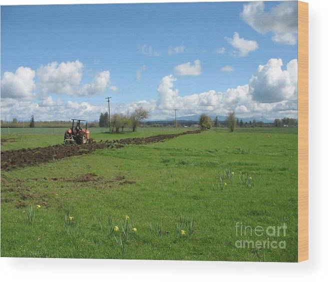Tractor Wood Print featuring the photograph Breaking Ground by Juli House