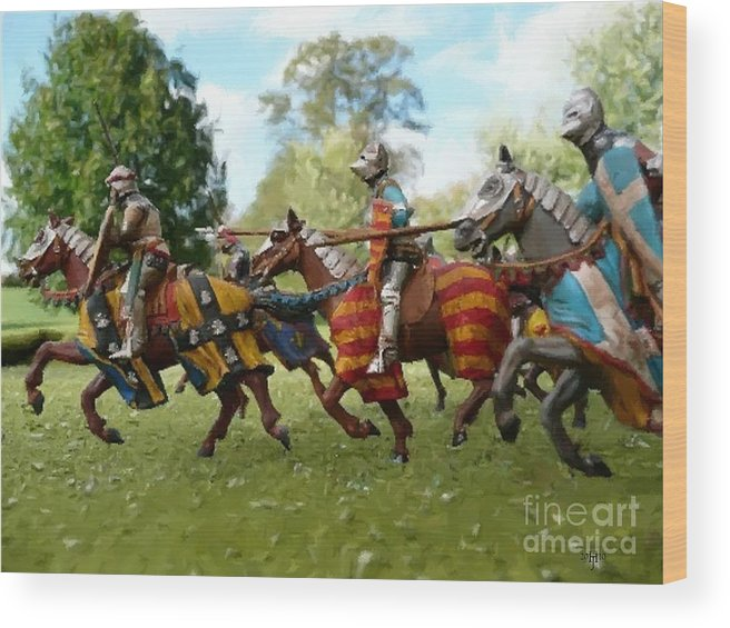 Knights Wood Print featuring the painting Charge by Jefferson Hobbs