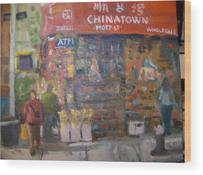 Store In Chinatown Ny Wood Print featuring the painting Chinatown by Bart DeCeglie