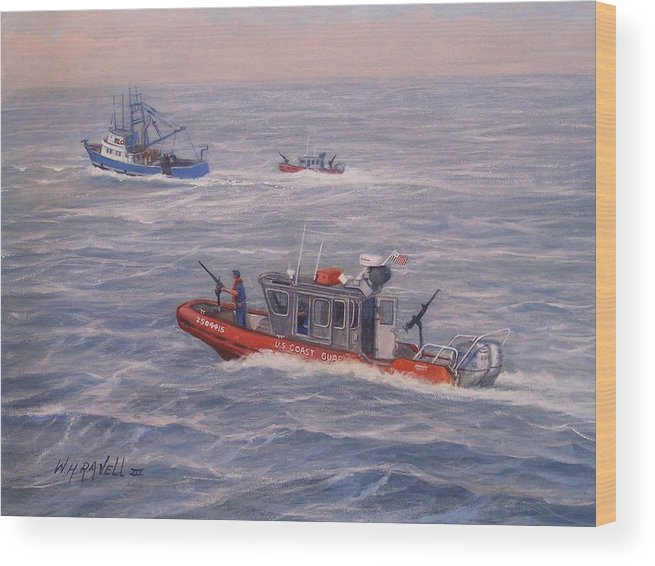 Boats Wood Print featuring the painting Coast Guard In Pursuit by William H RaVell III