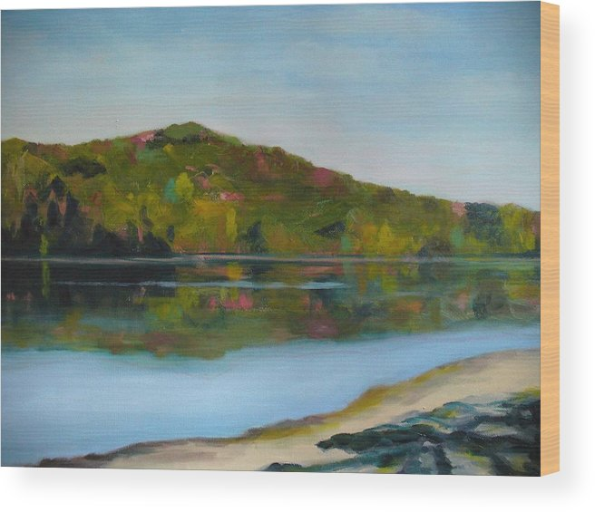 Lake Wood Print featuring the painting Deer Lake by Joe Lanni