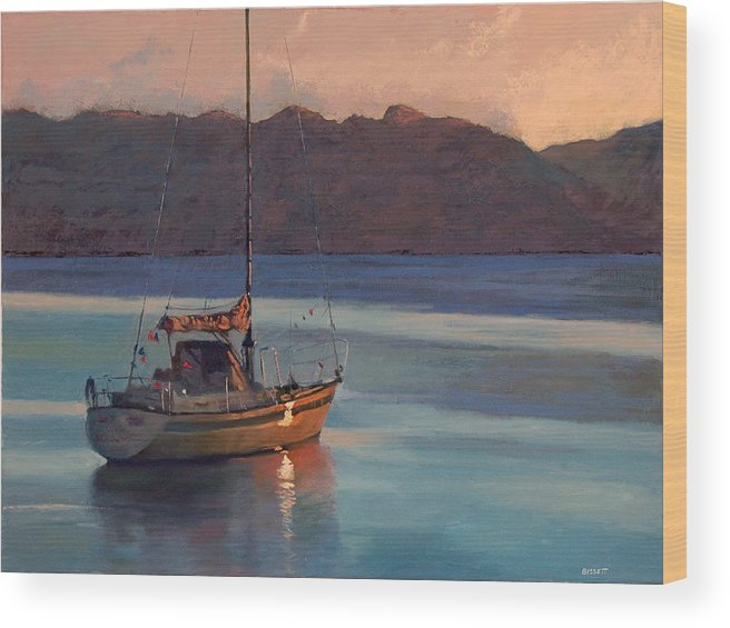 Sail Wood Print featuring the painting End Of Day by Robert Bissett