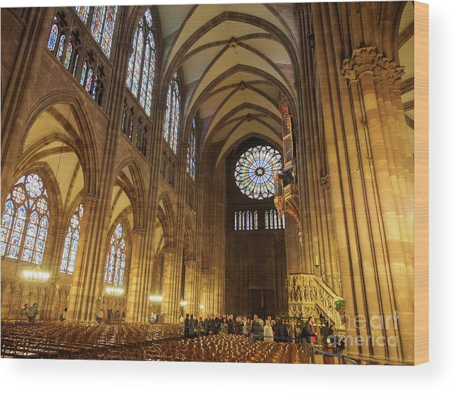 Nave Wood Print featuring the photograph Interior Of Strasbourg Cathedral by Louise Heusinkveld