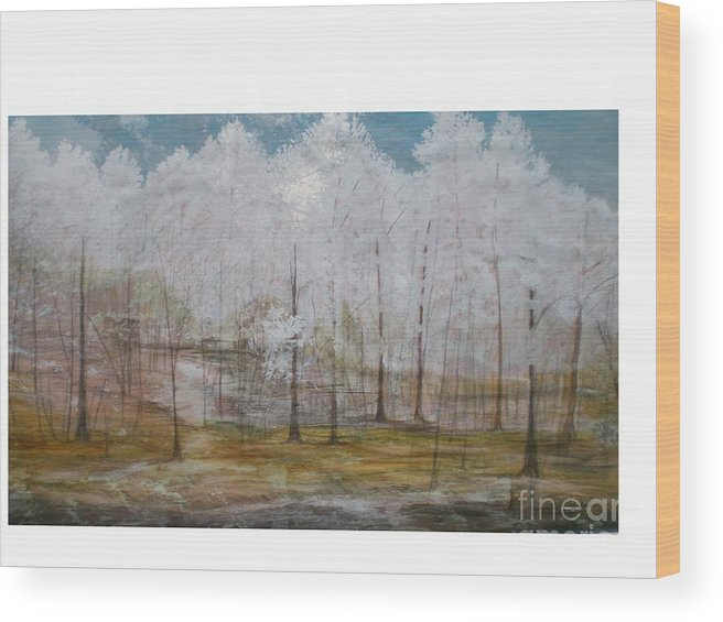 Snow At Maggie Valley Wood Print featuring the painting Maggie Valley by Hal Newhouser