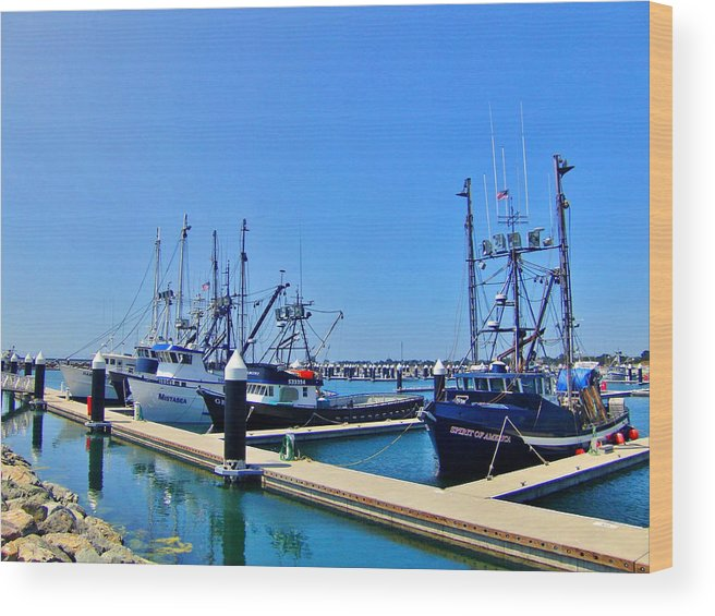 Sky Wood Print featuring the photograph Moored by Marilyn Diaz