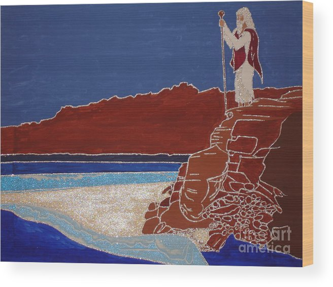 Moses And The Red Sea Wood Print featuring the painting Moses And The Red Sea by Daniel Henning