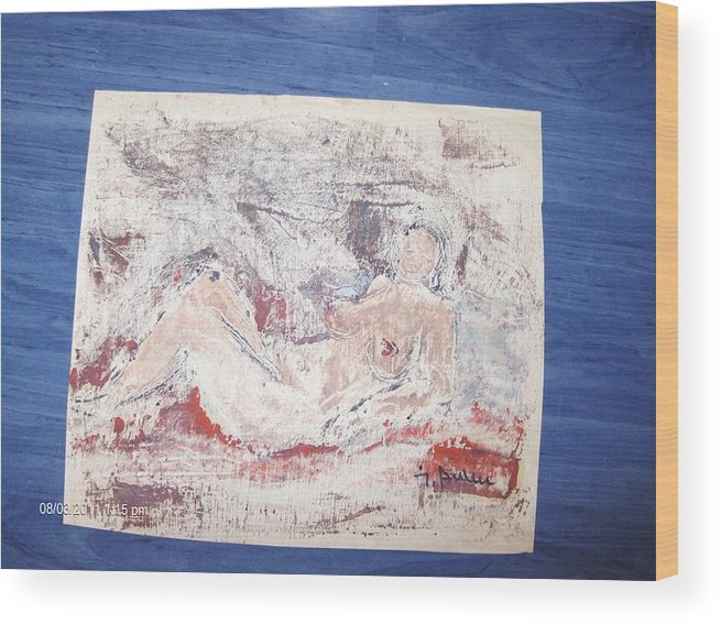 Wood Print featuring the painting Nud by Ilie Ardeleanu