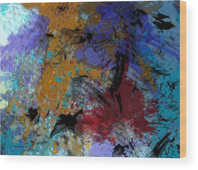 Abstract Wood Print featuring the painting Seeing The Light by Charles Yates