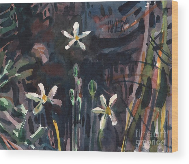 Sierra Wood Print featuring the painting Sierra Wildflowers by Donald Maier