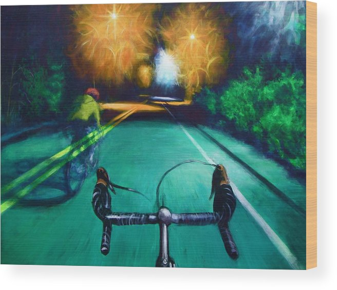 Bicycle Wood Print featuring the painting Untitled by Chris Slaymaker