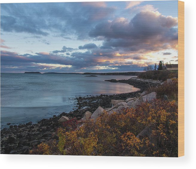 Jonesport Wood Print featuring the photograph Sunset Down East Maine by Trace Kittrell