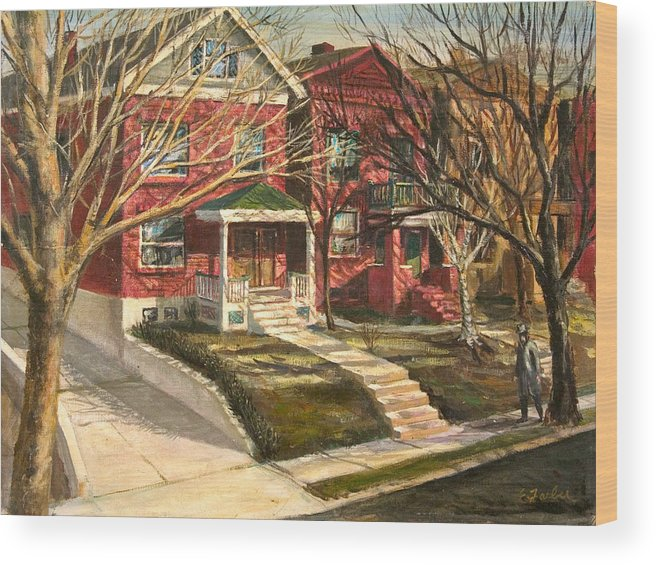 City Scenes Streetscape  Neighborhood  Houses   Driveway  Oldneighborhood  City Cityblock  Wood Print featuring the painting 1385 Clara Avenue by Edward Farber