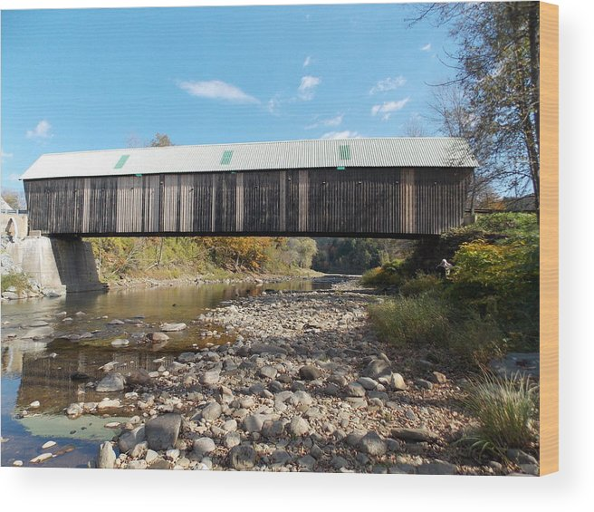 Woodstock Wood Print featuring the photograph 1877 Covered Bridge by Catherine Gagne