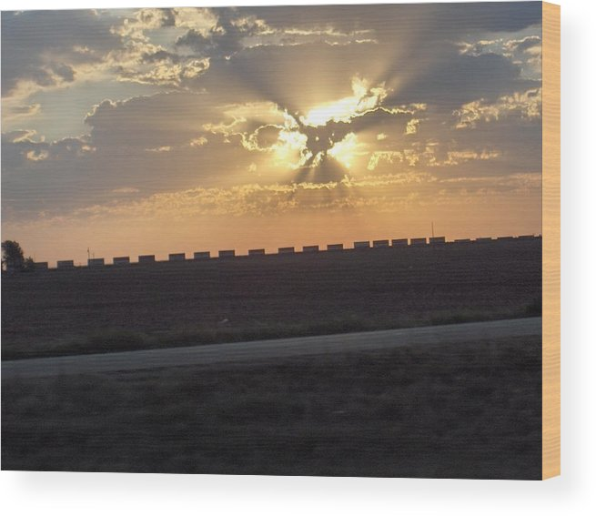 Sunrise Wood Print featuring the photograph Big Sky Texas Style by Denise Lowery