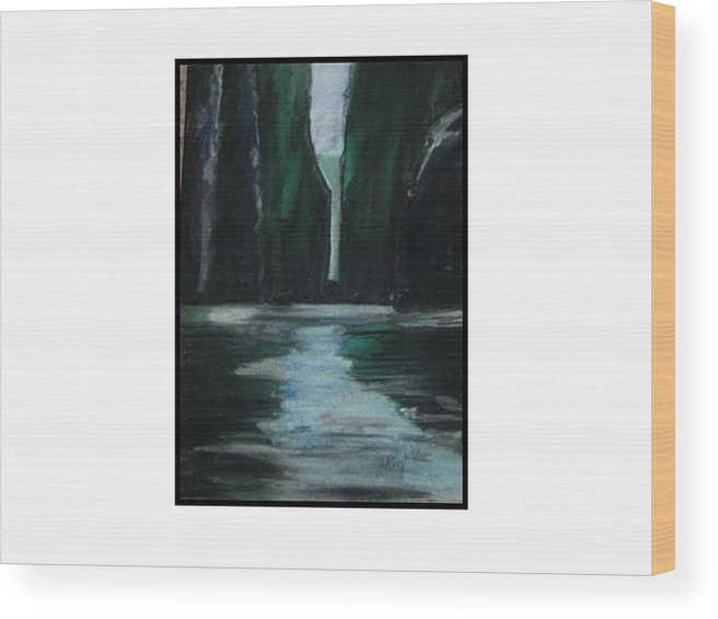 Mediterranean Seascape View Wood Print featuring the pastel Mediterranean Abstraction by Angela Puglisi