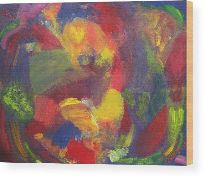 Abstract Wood Print featuring the painting On The Verge by Patricia Ortman