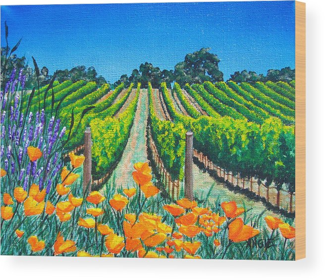 Vineyard Wood Print featuring the painting Presidio Vineyard by Angie Hamlin