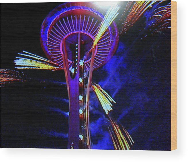 Space Needle Wood Print featuring the photograph 2016 At The Space Needle by Maro Kentros