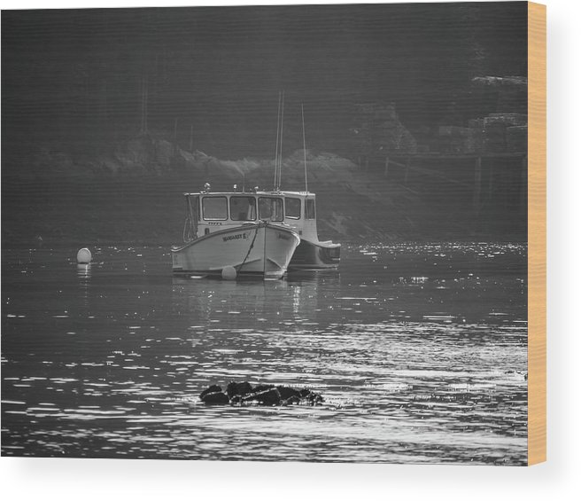 Black And White Wood Print featuring the photograph Down East Maine by Trace Kittrell