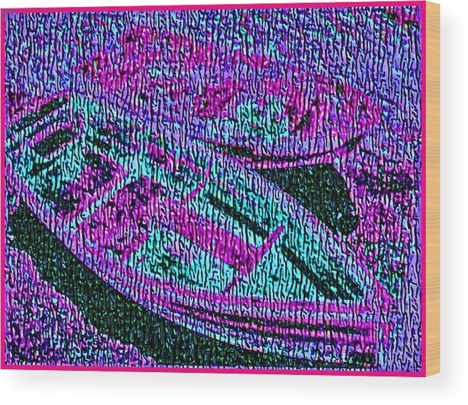 Nautical Wood Print featuring the painting 29a Green Purple Rowboats by Ed Immar