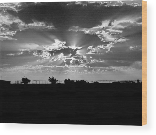 Sun Wood Print featuring the photograph Big Sky Texas Style by Denise Lowery