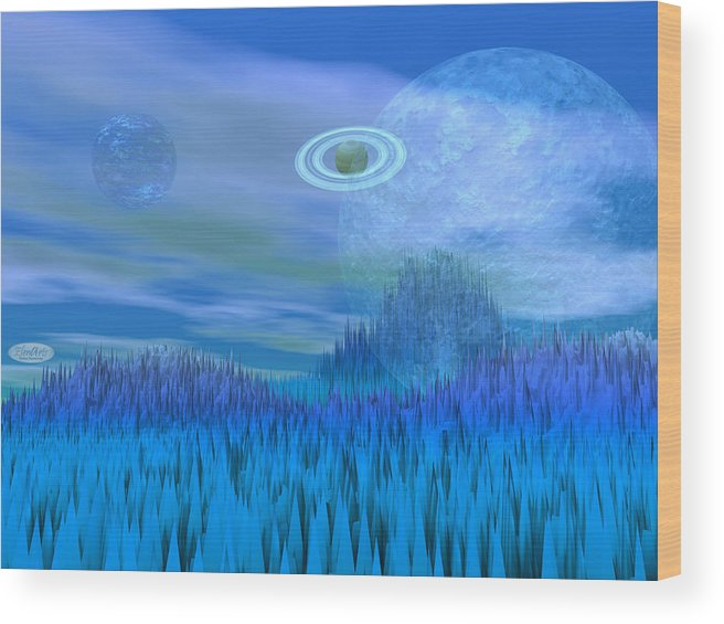 Alien Wood Print featuring the digital art Fantasy Landscape by Elenarts - Elena Duvernay Digital Art