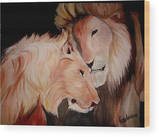Lion Wood Print featuring the painting Lion's Love by Glory Fraulein Wolfe