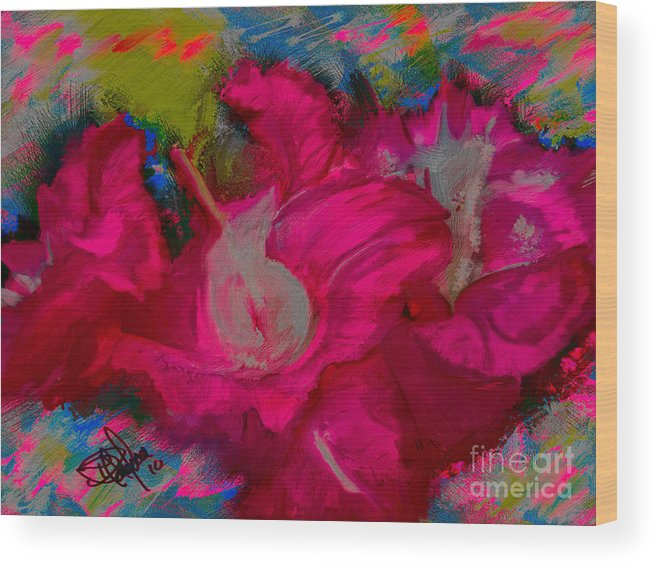 Floral Wood Print featuring the painting 3281.1 by Donald Pavlica