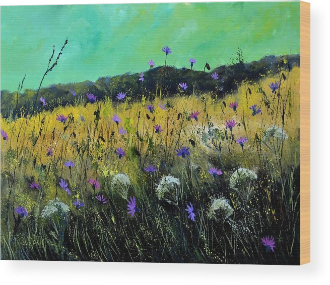 Landscape Wood Print featuring the painting Wild Flowers by Pol Ledent