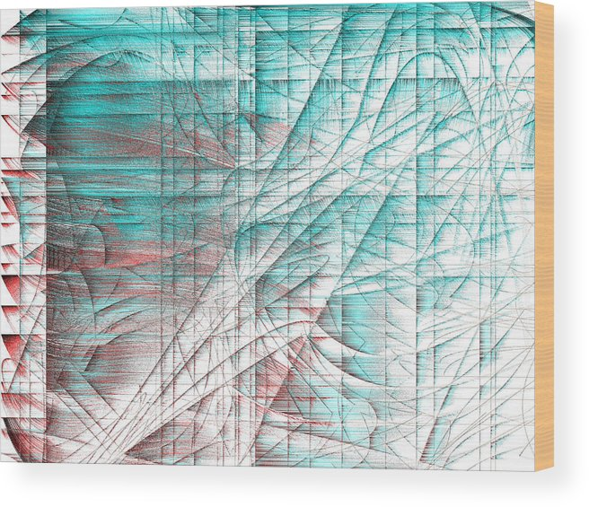 Rithmart Abstract Fade Fading Lines Organic Random Computer Digital Shapes Changing Colors Directions Fading Lines Shapes Shingle Springs Wood Print featuring the digital art 4x3.133-#rithmart by Gareth Lewis