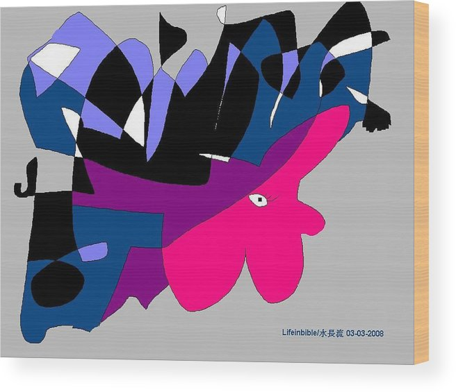 Lady Wood Print featuring the painting Abstract by Victoria Wang