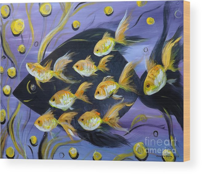 Fish Wood Print featuring the painting 8 Gold Fish by Gina De Gorna