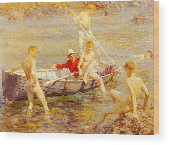 Canal Wood Print featuring the digital art Tuke Henry Scott Ruby Gold And Malachite Henry Scott Tuke by Eloisa Mannion