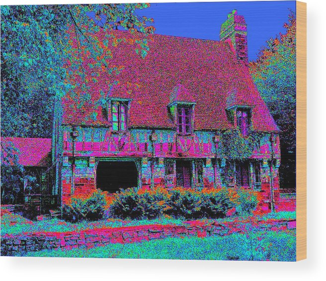 Cottage Wood Print featuring the painting 91f Dream Cottage by Ed Immar