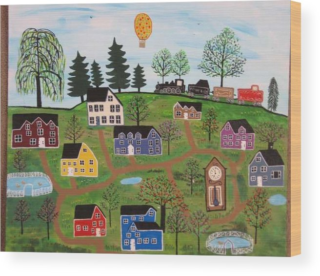 Folk Art Village Wood Print featuring the painting A Beautiful Day In Deltalareah Wexla by Mike Filippello