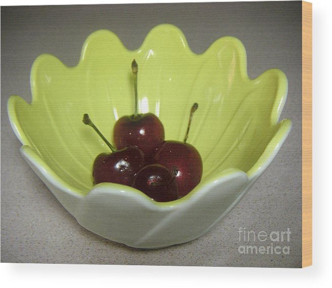 Nature Wood Print featuring the photograph A Bowl Of Cherries by Lucyna A M Green